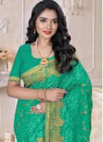 Georgette Embroidered Contemporary Saree in Green