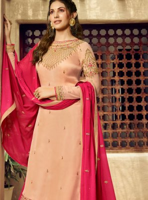 Georgette Embroidered Cream Designer Salwar Suit