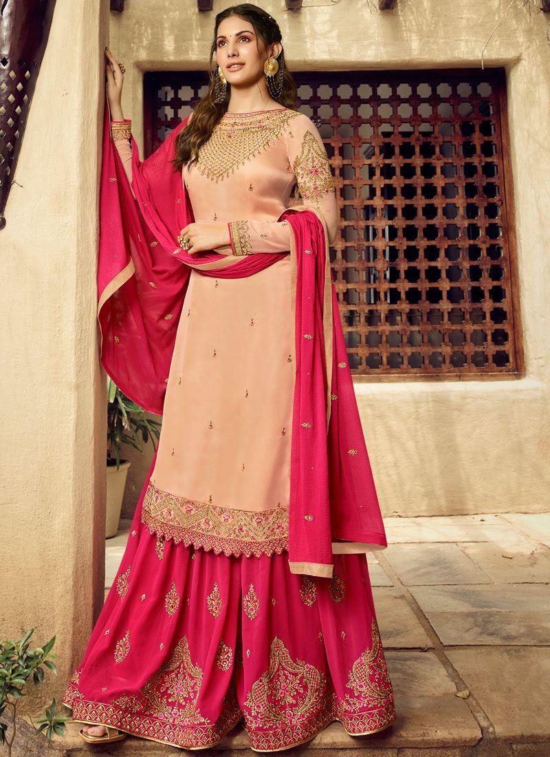 Georgette Embroidered Cream Designer Salwar Suit