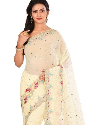 Georgette Embroidered Cream Designer Saree