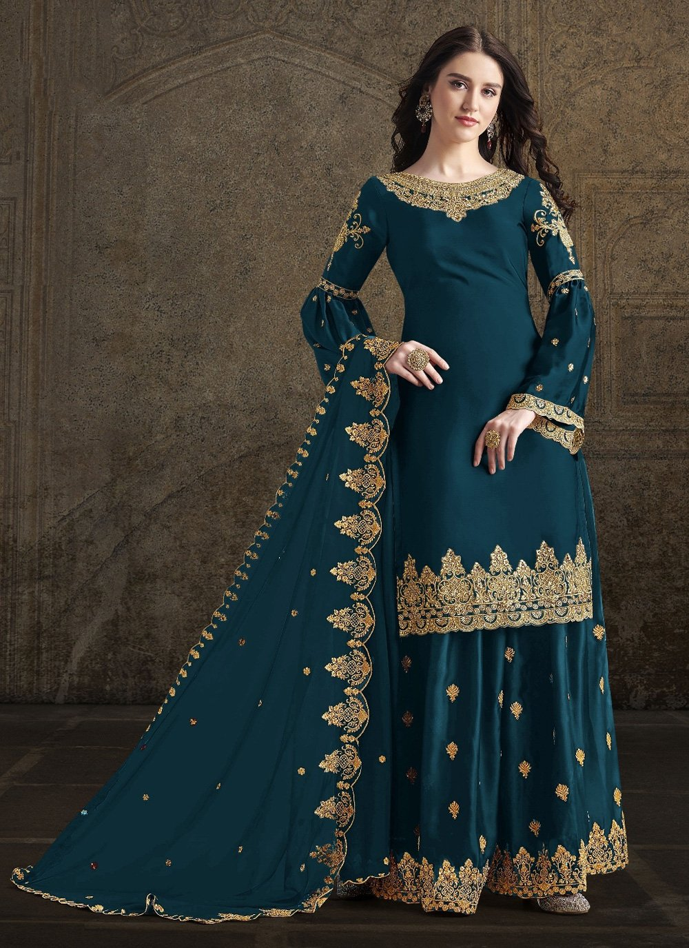 Georgette Embroidered Designer Palazzo Suit