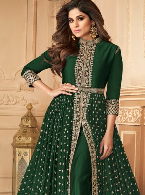 Georgette Embroidered Designer Salwar Suit in Green