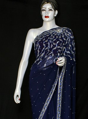 Georgette Embroidered Designer Saree in Navy Blue