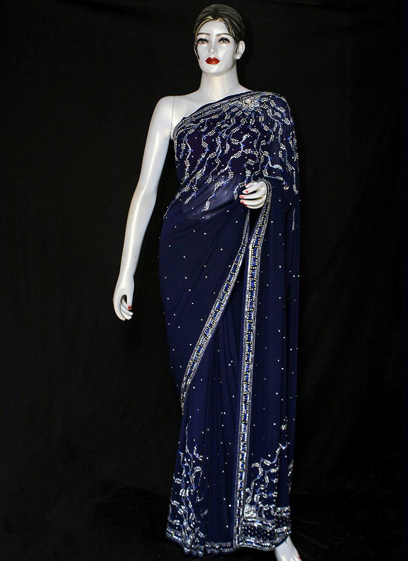 Georgette Embroidered Designer Saree in Navy Blue