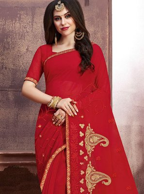 Georgette Embroidered Designer Saree in Red
