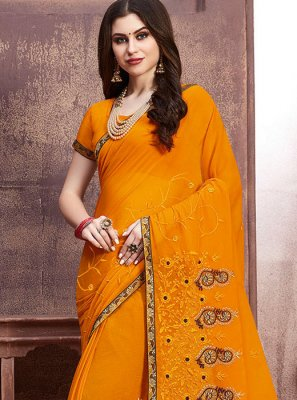 Georgette Embroidered Designer Saree in Yellow