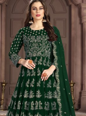 Georgette Embroidered Green Anarkali Salwar Kameez