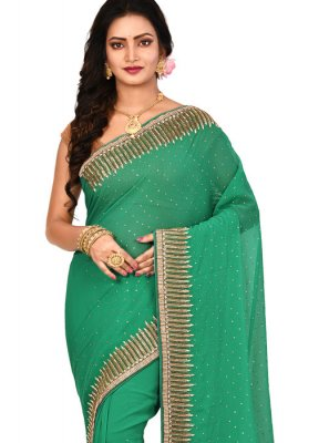Georgette Embroidered Green Designer Saree