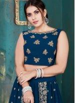 Georgette Embroidered Lehenga Choli in Blue