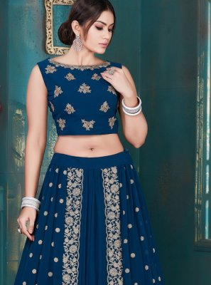 Georgette Embroidered Lehenga Choli in Blue