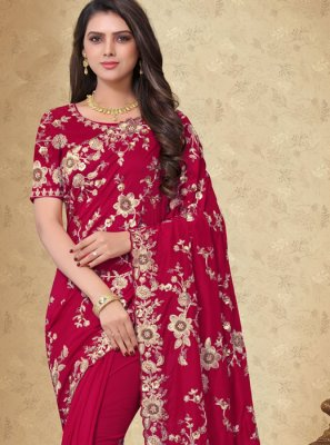 Georgette Embroidered Maroon Designer Saree