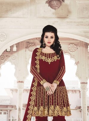 Georgette Embroidered Maroon Salwar Suit