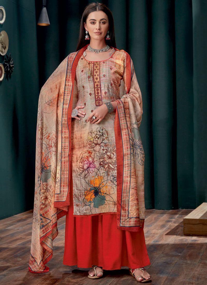 Georgette Embroidered Multi Colour Designer Palazzo Suit