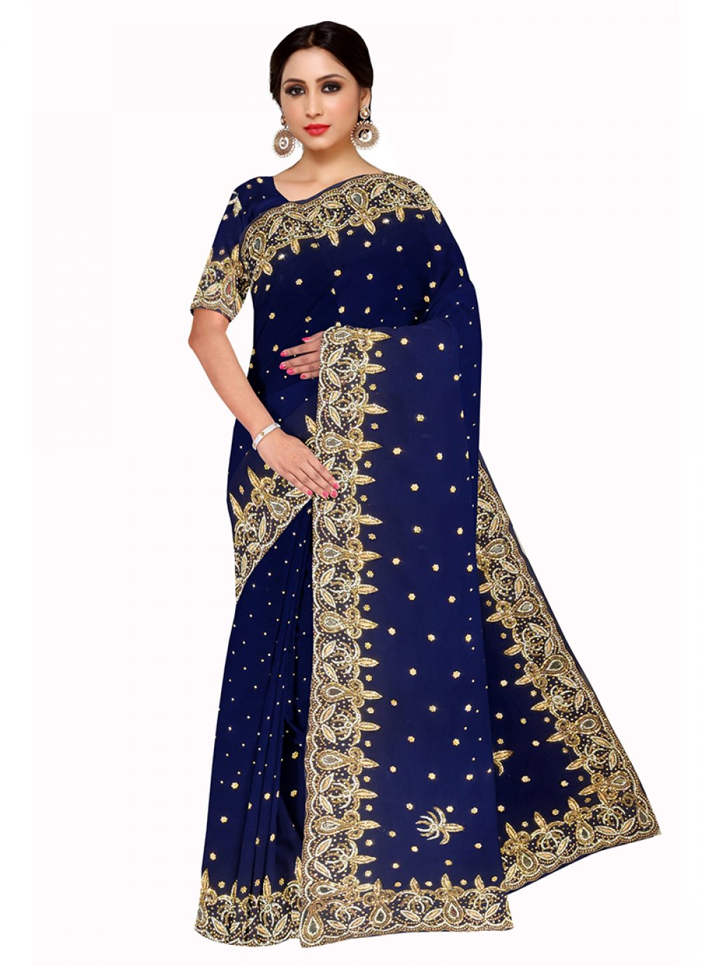 Georgette Embroidered Navy Blue Saree