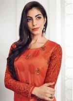 Georgette Embroidered Orange Salwar Kameez