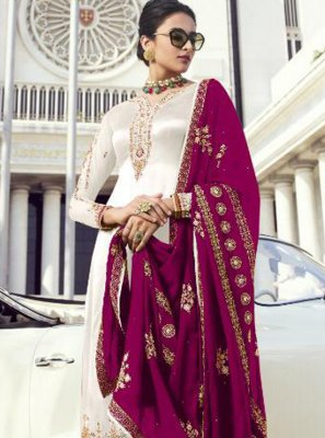 Georgette Embroidered Palazzo Designer Suit in White