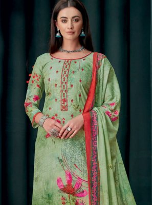 Georgette Embroidered Palazzo Suit in Green