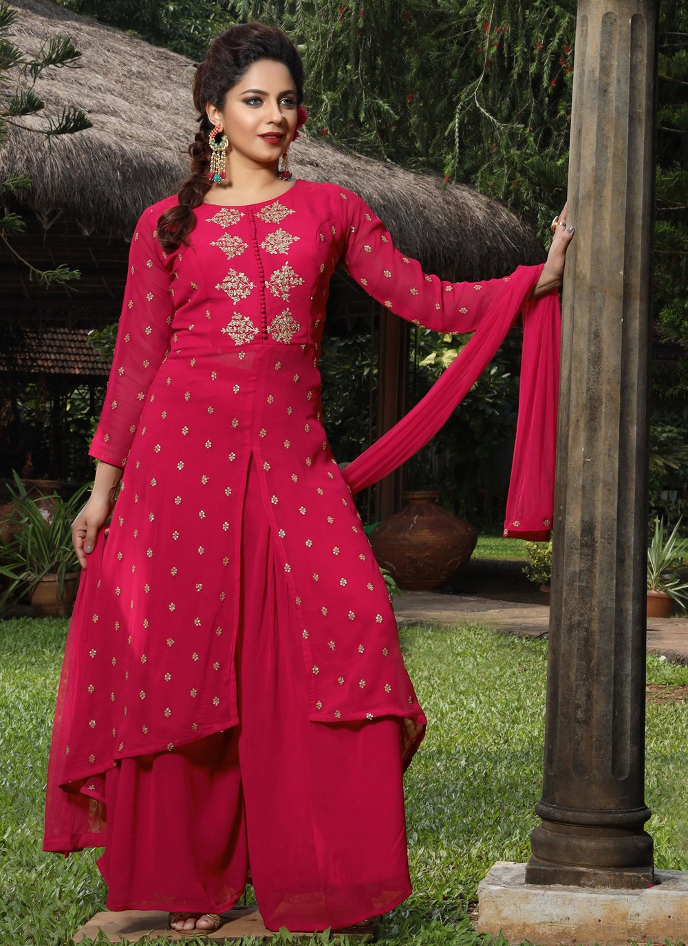 Georgette Embroidered Palazzo Suit in Rani