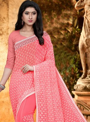 Georgette Embroidered Pink Classic Designer Saree