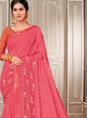 Georgette Embroidered Pink Designer Saree