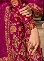 Georgette Embroidered Pink Salwar Suit