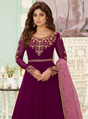 Georgette Embroidered Purple Anarkali Suit