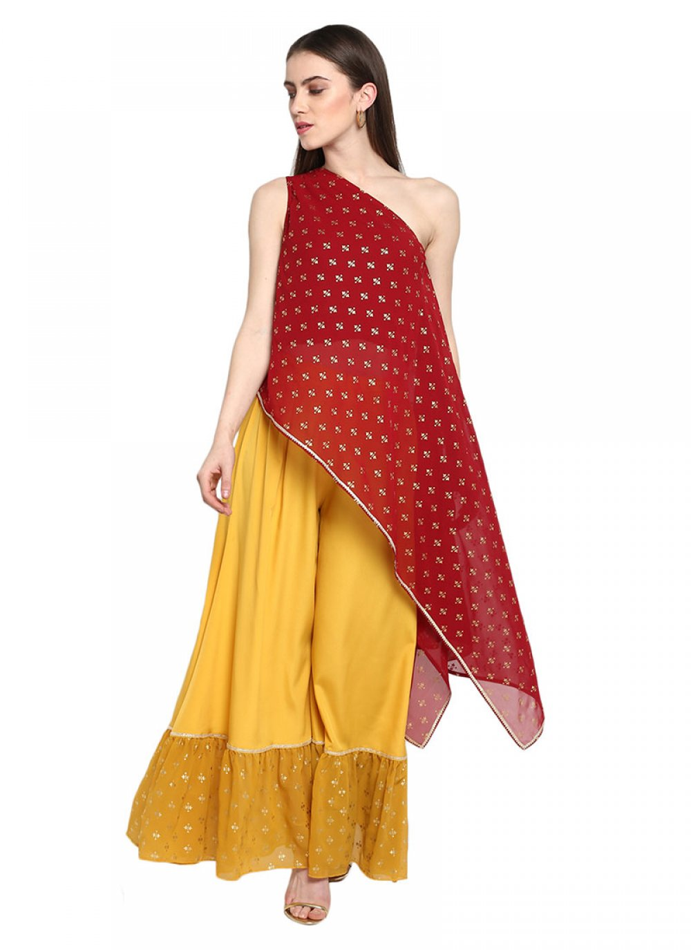Georgette Embroidered Red Kurta