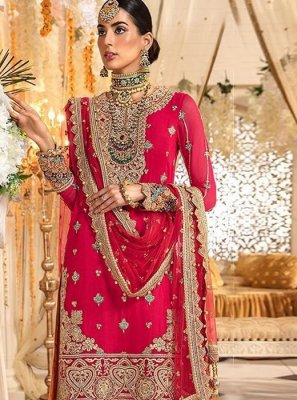 Georgette Embroidered Red Salwar Kameez