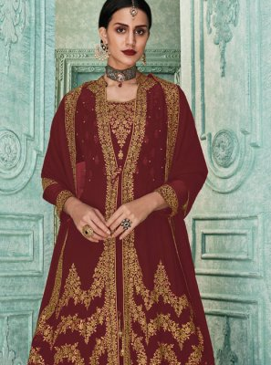 Georgette Embroidered Salwar Suit in Brown