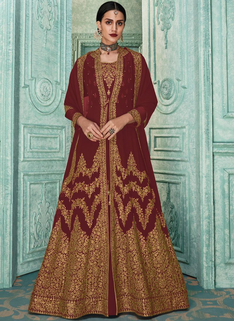 Georgette Embroidered Salwar Suit in Maroon