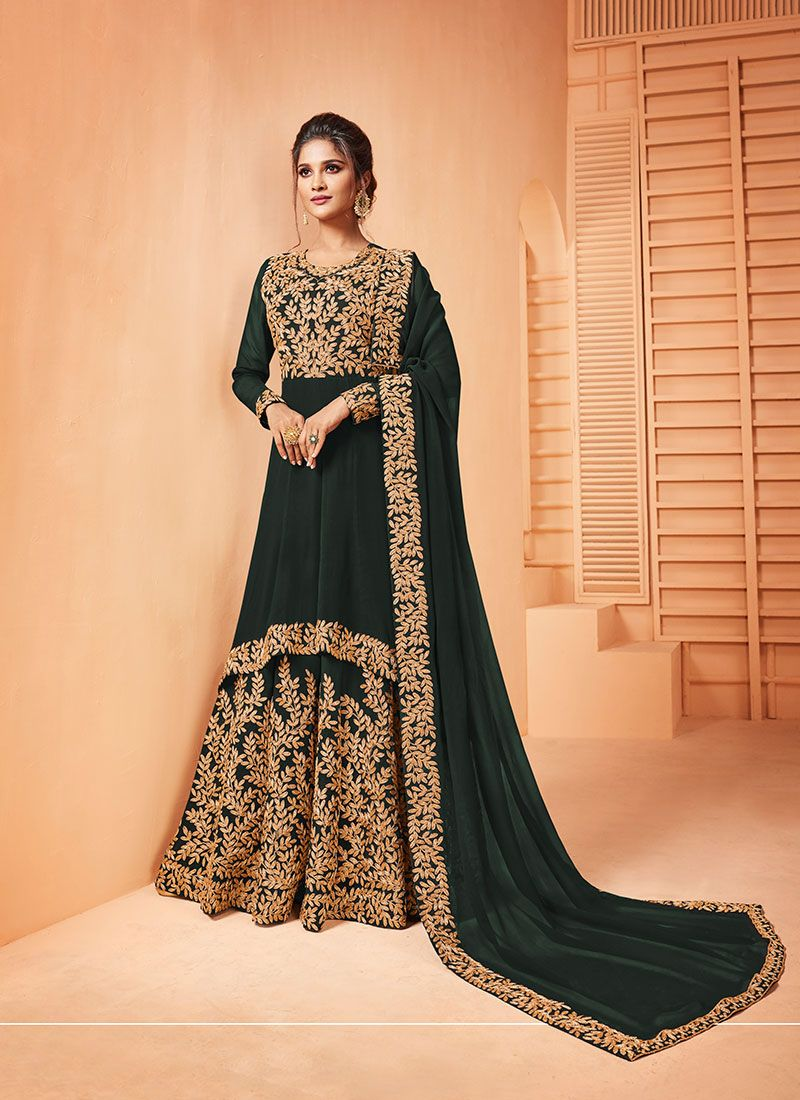Georgette Embroidered Salwar Suit in Green