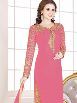 Georgette Embroidered Salwar Suit in Pink