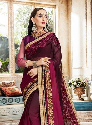 Georgette Embroidered Wine Designer Saree