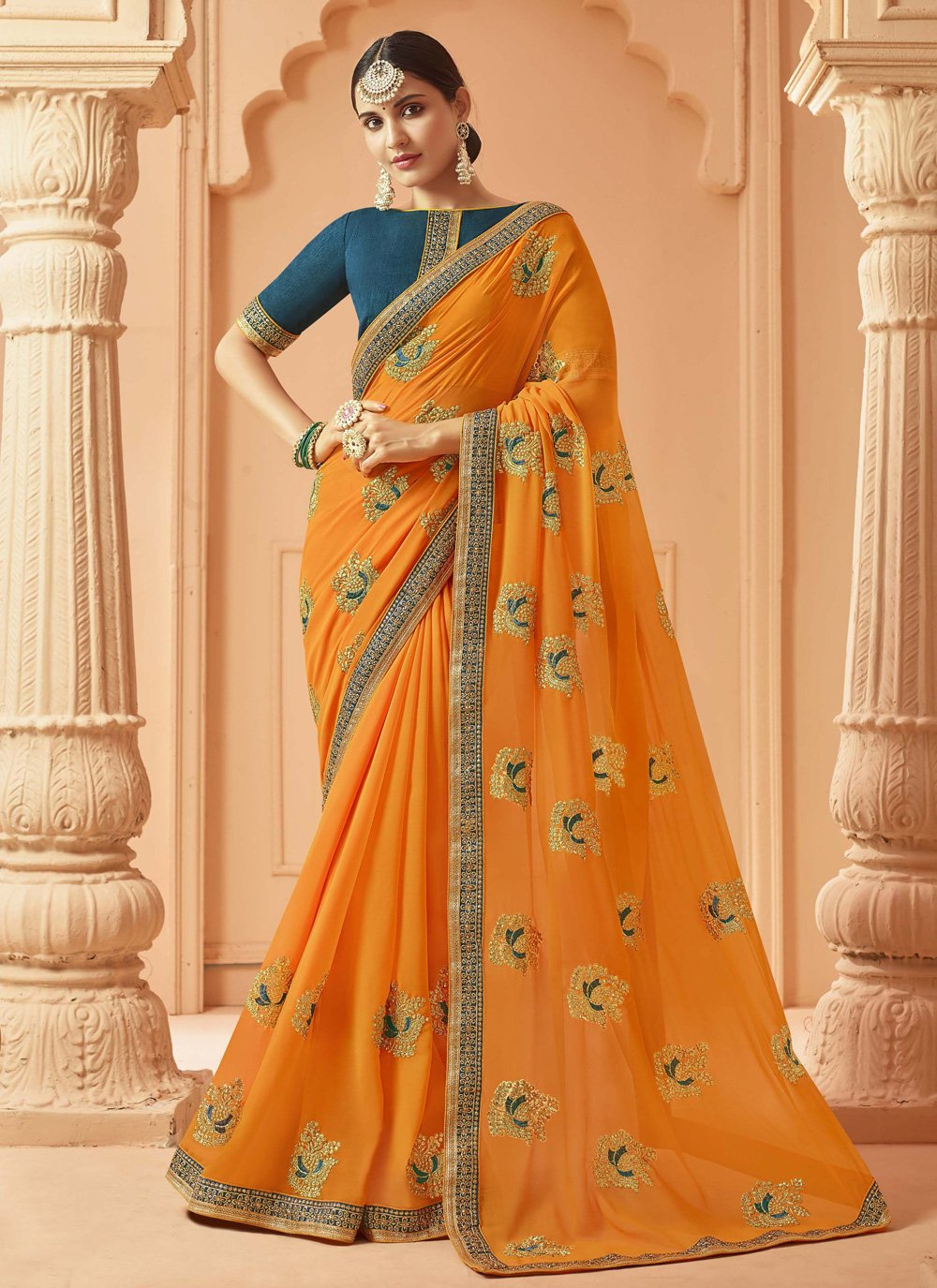 Georgette Embroidered Yellow Classic Saree