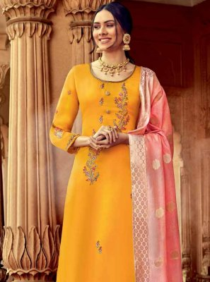 Georgette Embroidered Yellow Designer Palazzo Salwar Kameez