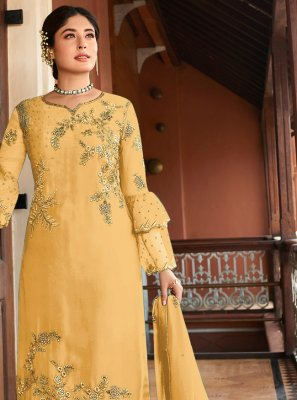 Georgette Embroidered Yellow Designer Salwar Kameez