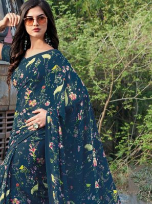 Georgette Floral Print Classic Saree in Blue