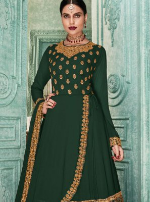 Georgette Green Embroidered Salwar Kameez