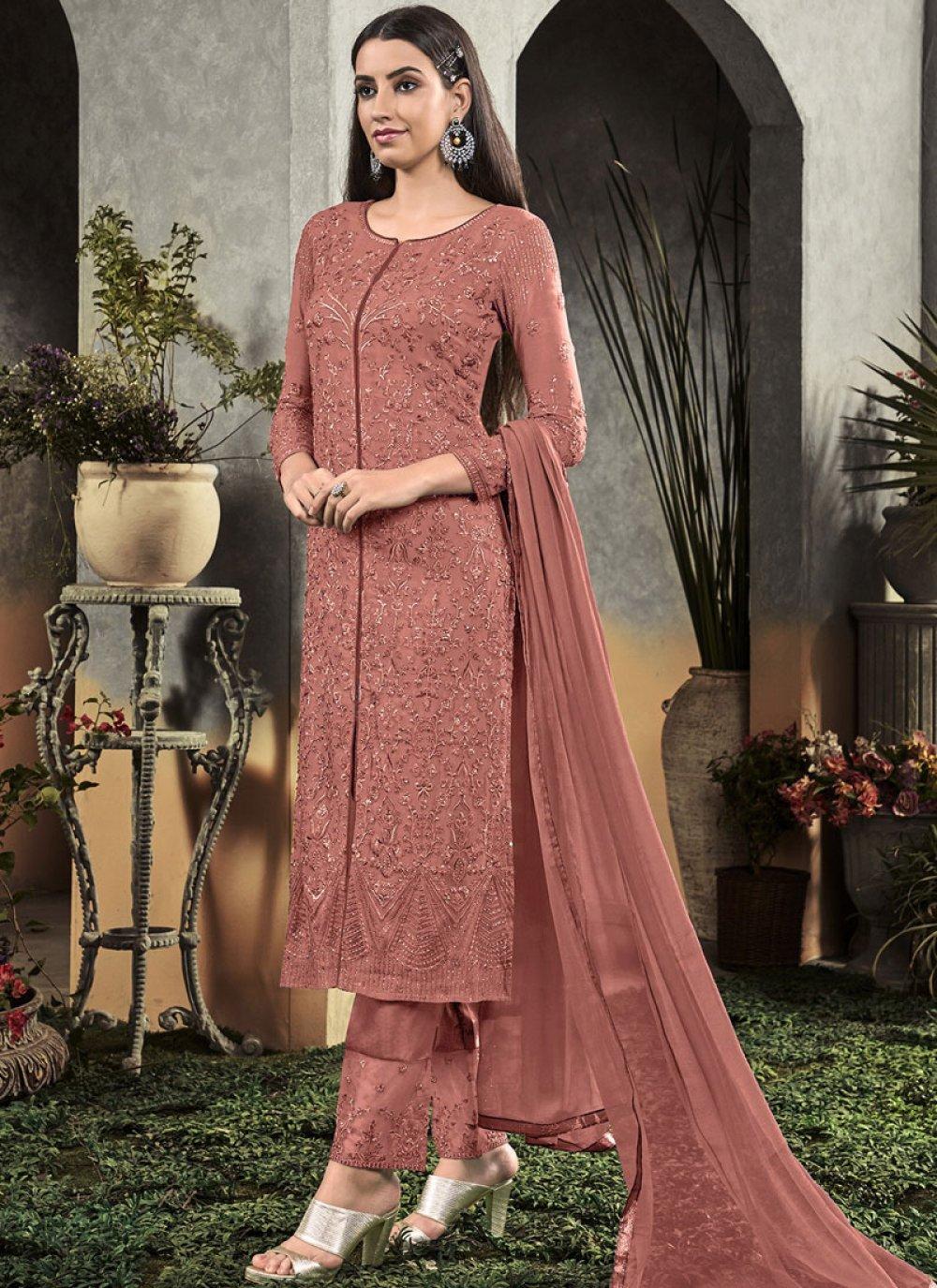 Georgette Rust Embroidered Salwar Suit