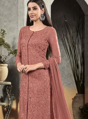 Georgette Rust Embroidered Salwar Suit