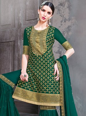 Georgette Green Palazzo Suit