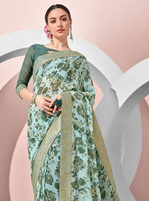 Georgette Green Printed Classic Saree