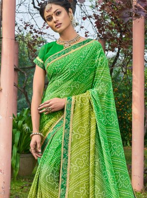 Georgette Green Printed Saree