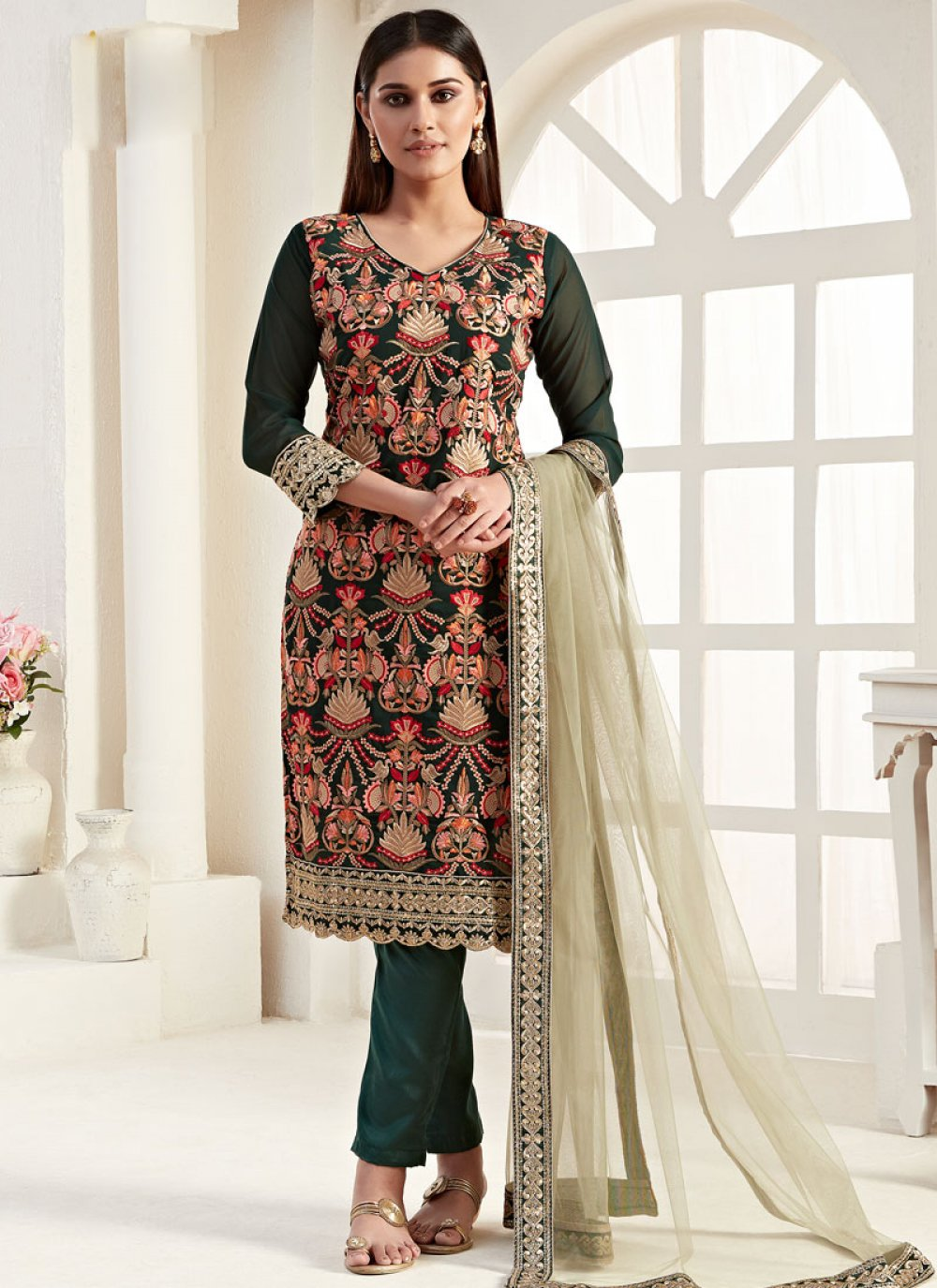 Georgette Green Thread Salwar Suit