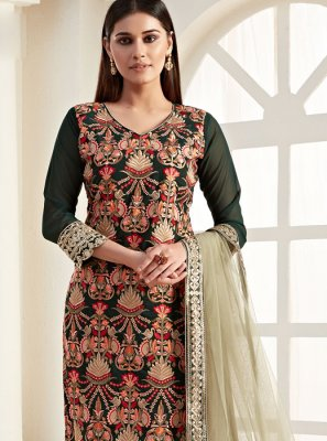 Georgette Green Thread Salwar Suit