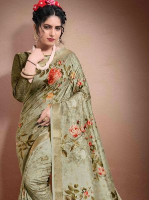 Georgette Grey Digital Print Designer Saree