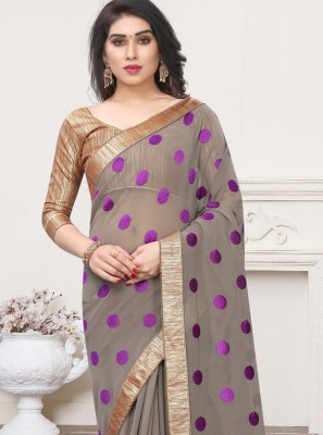 Georgette Grey Lace Trendy Saree