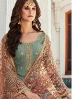 Georgette Grey Zari Salwar Suit