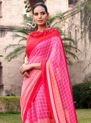 Georgette Half N Half  Saree in Pink