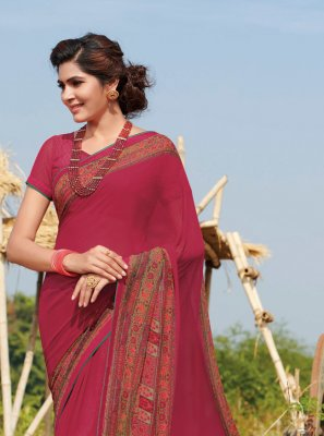 Georgette Hot Pink Printed Contemporary Saree